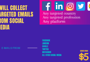 I will collect targeted E-mail from all Social Media