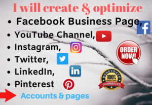 47487I will create FB business page, Instagram, Pinterest, Twitter, YouTube account