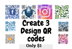 I will create eye catching colorful qr code with 3D mocups
