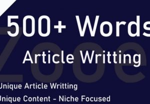 Write 500+ Words Optimized Unique Articles for Any Niche for $5