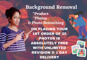 I will edit bulk photo background removal and photo retouching free