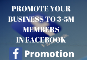 I will do Facebook promotion