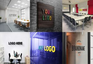 I will create 10 different realistic 3d logo mockup