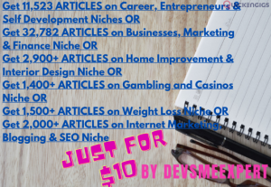 I will give 11500 bulk articles on different niches